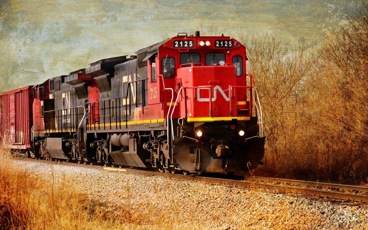 Фото бесплатно поезд, 2125, красный, вагоны, железная, дорога, движение, разное, разное