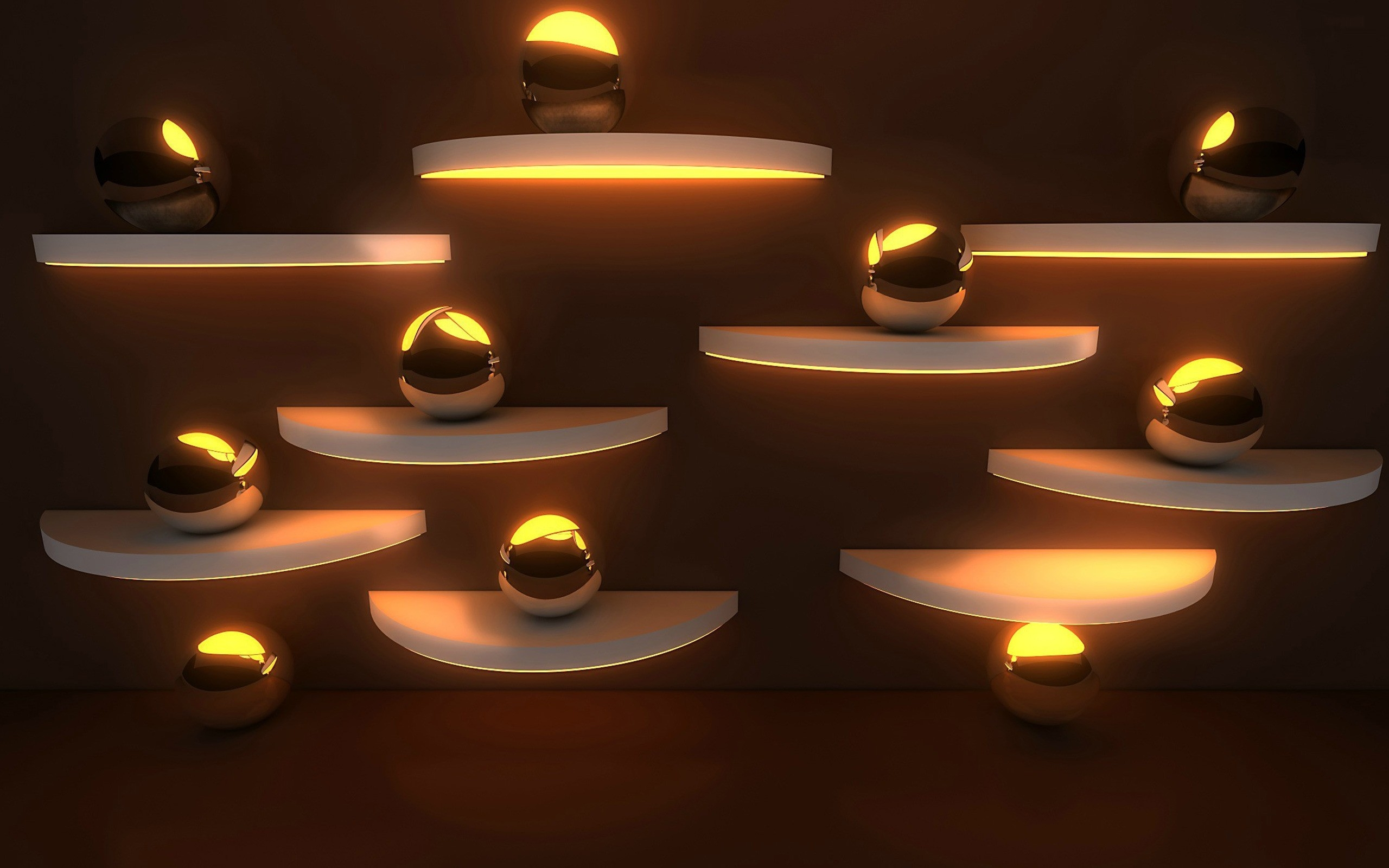 обои стена, полки, шары, подсветка картинки фото