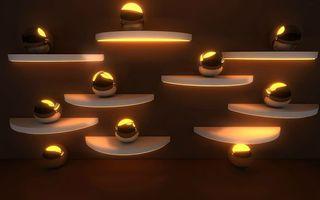 Бесплатные фото стена, полки, шары, подсветка, дизайн, интерьер