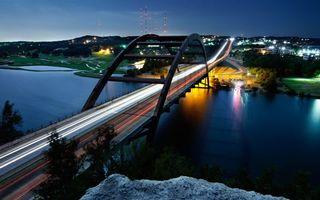 Фото бесплатно вечер, мост, машины