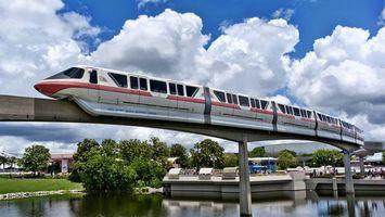 Бесплатные фото вода,река,мост,поезд,дома,деревья,небо