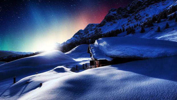 Бесплатные фото зима,снег,ночь,пейзажи