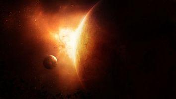 Фото бесплатно звезды, планета, спутник