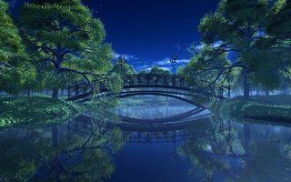 Бесплатные фото ночь,деревья,река,фонари,парк,мост,пейзаж