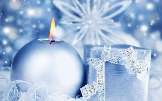 Фото бесплатно свечка, новогодняя, круглая