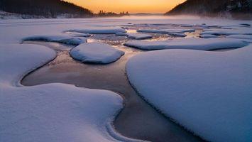 Фото бесплатно зима, ручей, снег