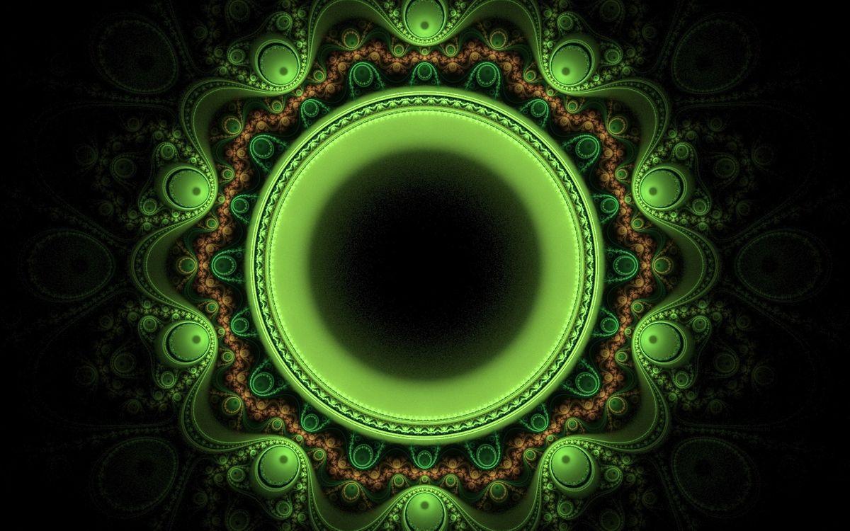 Фото бесплатно фон, черный, круги, зеленый, линии, узор, орнамент, искусство, абстракции, абстракции