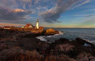 Бесплатные фото Маяк Портланд Хед,Мейн,Portland Head,Портланд,Мэн,США,закат