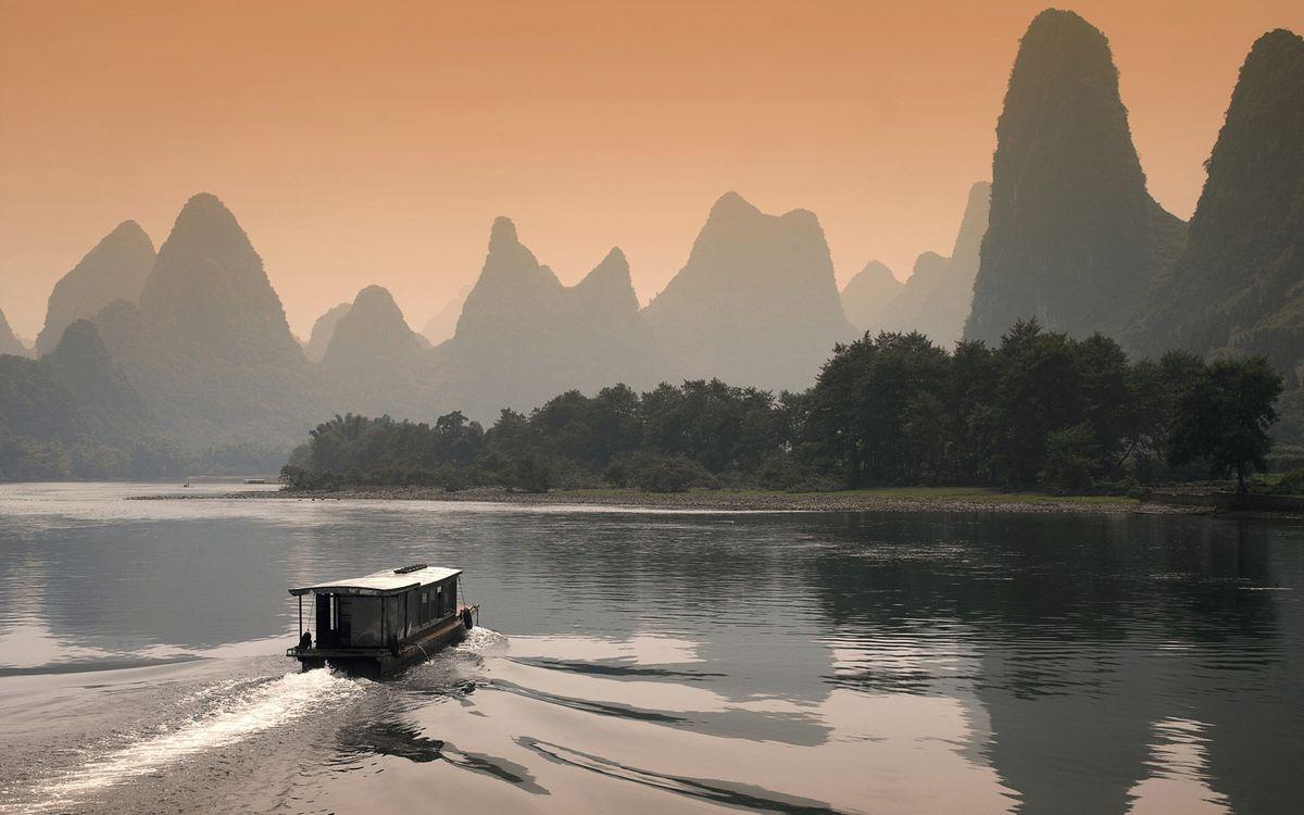 Фото бесплатно море, лодка, горы, берег, деревья, небо, природа, природа