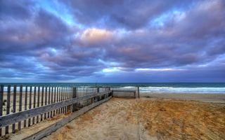 Фото бесплатно море, пляж, забор, ограждение, песок, волны, природа