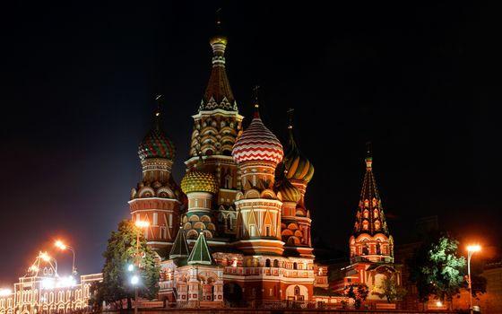 Бесплатные фото ночь,москва,храм,город