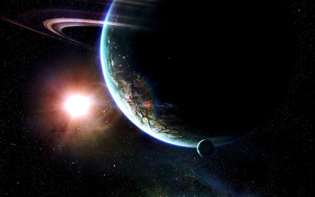 Фото бесплатно планеты, кольца, земля, спутник, солнце, звезда, космос, космос