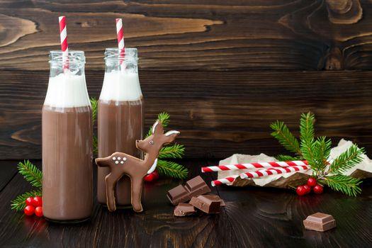 Бесплатные фото праздник,новый год,рождество,печенье,глазурь,шоколад,горячий шоколад,бутылки,трубочки