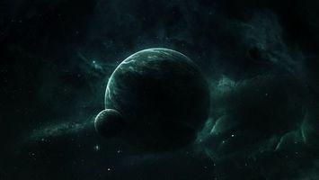 Фото бесплатно пространственная туманность вокруг планеты и спутника, вселенная, звёзды