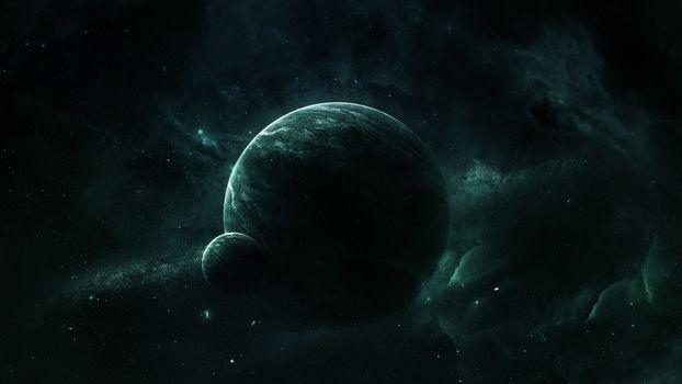 Photo free spatial nebula around the planet and satellite, the universe, stars