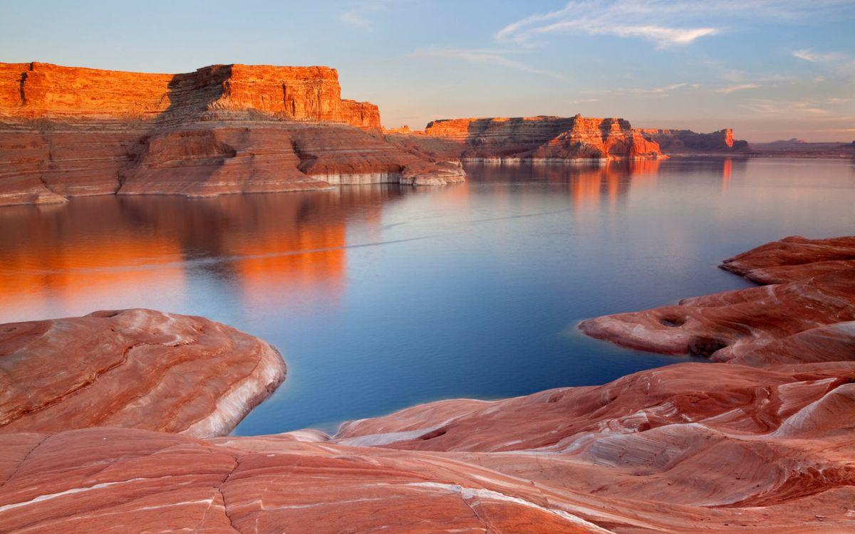 Фото бесплатно река, небо, камень, красный, облака, вечер, природа, природа