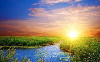 Заставки река, трава, солнце