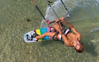 Заставки скайсерфинг, девушка, купальник, море, волна, дно, спорт