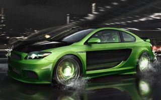 Заставки тачка,зеленая,ночь,скорость,дорога,брызги,машины