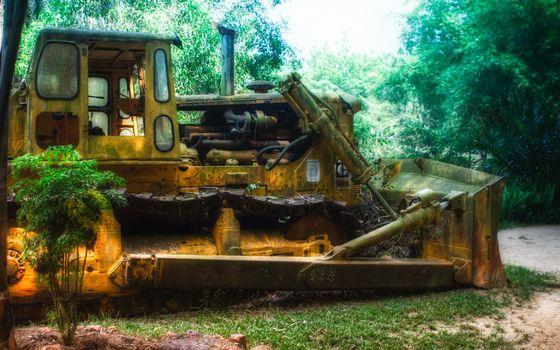 Фото бесплатно трактор, бульдозер, гусеницы