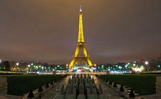 Заставки вечерний, париж, эйфелевая башня, желтый, свет, освещение, дома, фонари, улицы, город