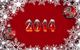 Обои 2014, надпись, цыфры, белые, снежинки, новогодние, игрушки, лошадь, красный, фон, новый год