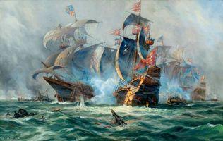Заставки живопись, корабли, сражение