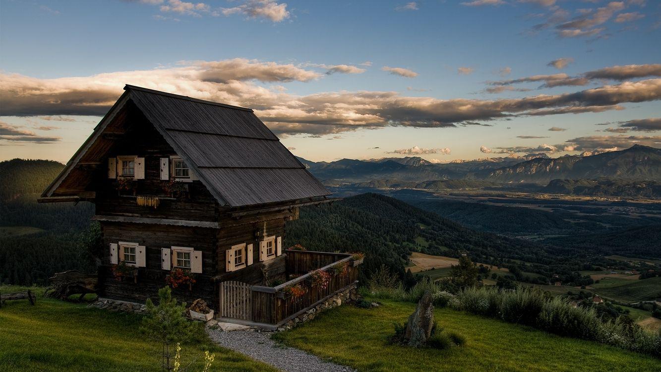 Фото бесплатно дом, горы, лес, небо, облака, пейзажи, природа, природа
