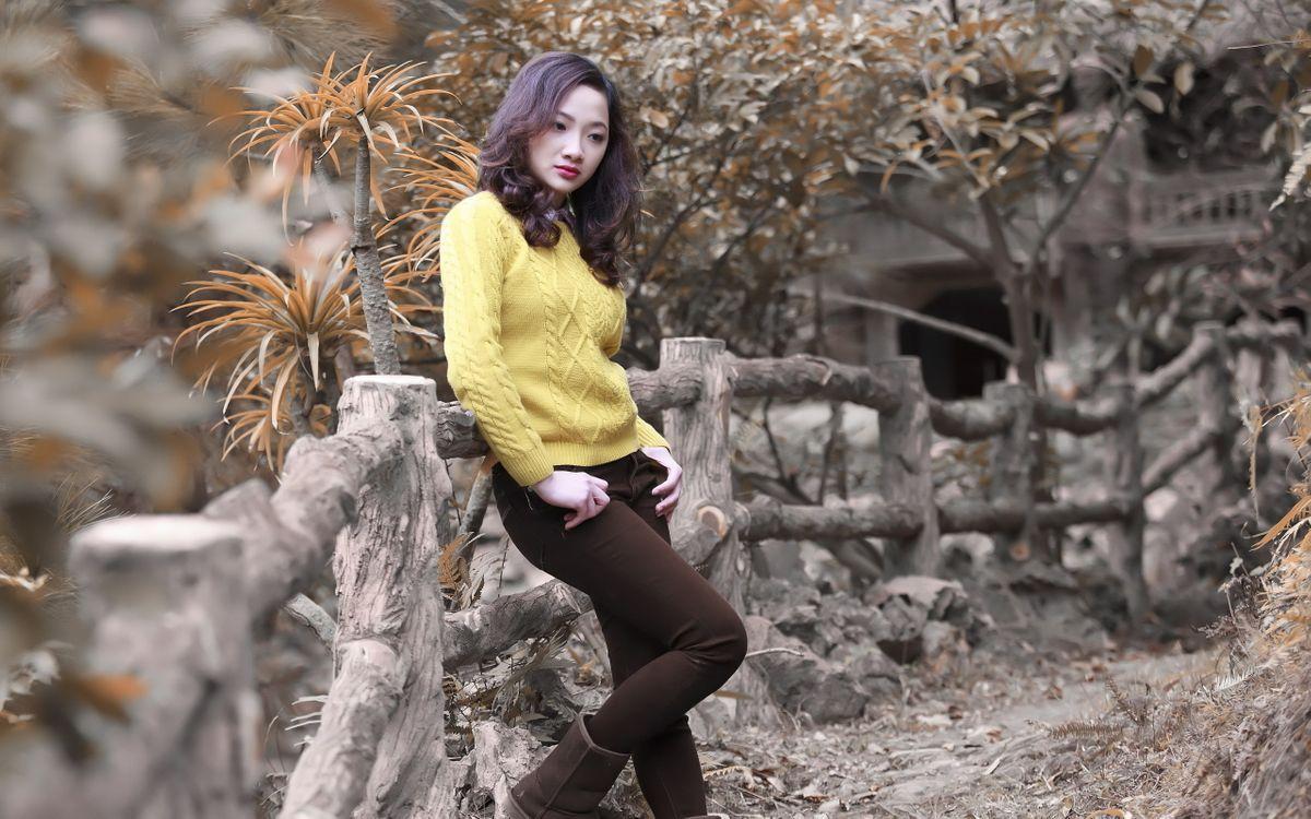 Фото бесплатно азиатка, ограда, деревянная - на рабочий стол