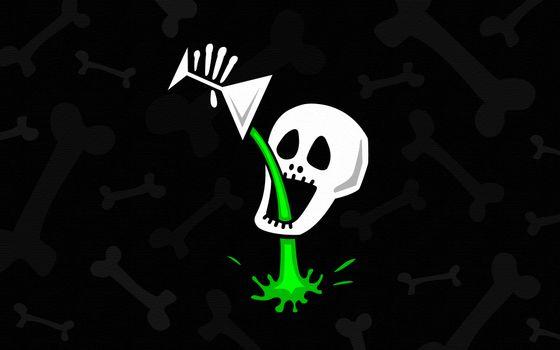 Photo free skull, glass, drink
