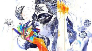 Бесплатные фото девушка,голова,лицо,арт,искусство картина,цветы,узоры