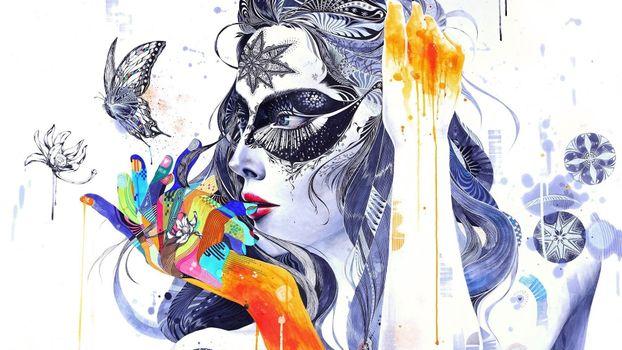 Бесплатные фото девушка,голова,лицо,арт,искусство картина,цветы,узоры,рисунок,разное