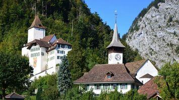 Фото бесплатно дома, горы, деревья