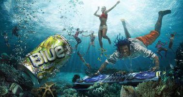 Обои напиток, blue coco-ananas, люди, под водой, музыка, танцы, реклама