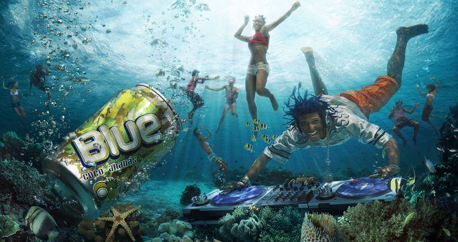 напиток, blue coco-ananas, люди, под водой, музыка