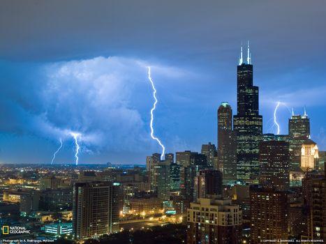 Photo free lightning, city, thunderstorm