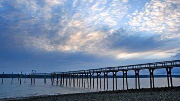 Бесплатные фото море, вода, мост, небо, облака, свет, песок