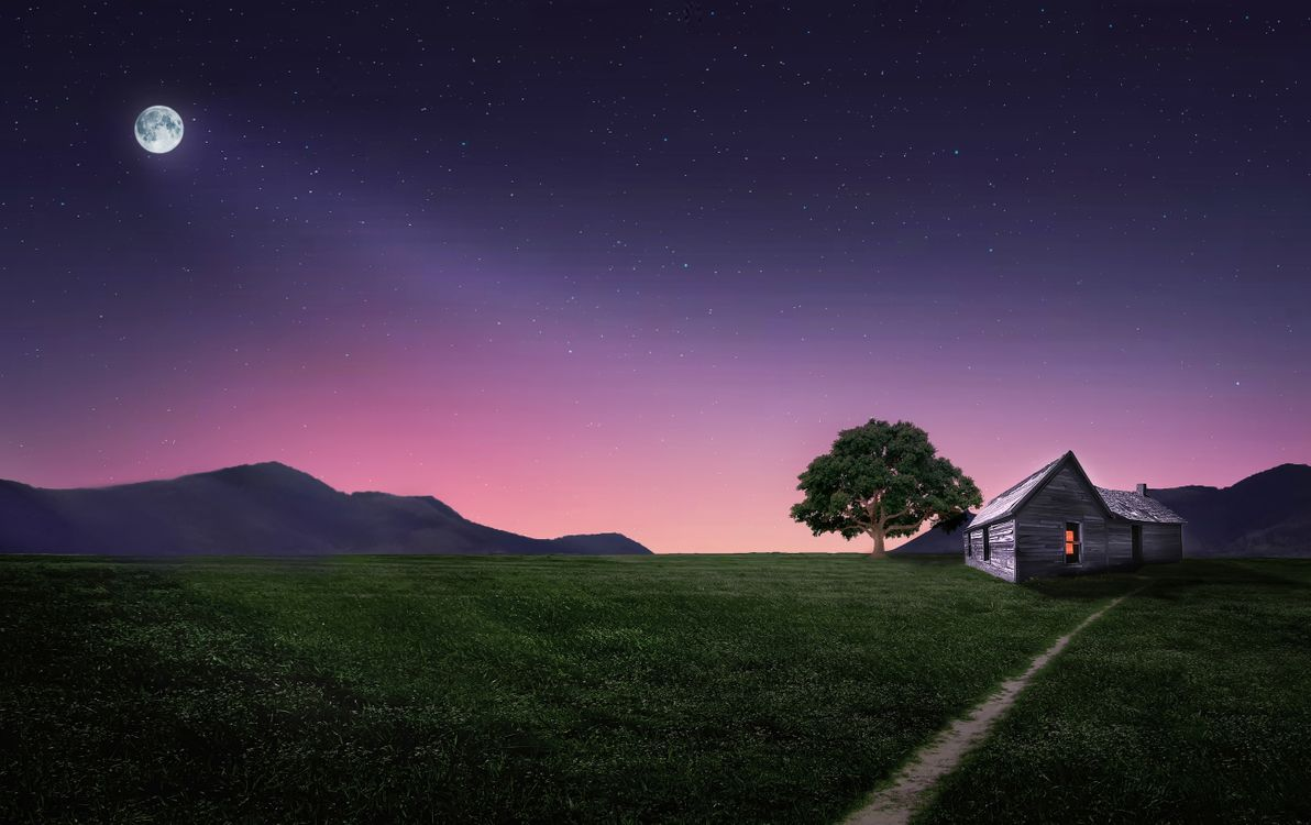 Фото бесплатно ночь, поле, домик, луна, пейзаж, рендеринг