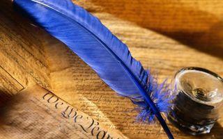 Фото бесплатно перо, синее, чернильница