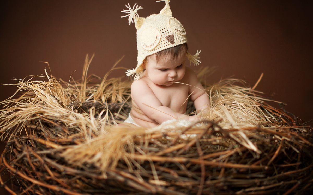 Фото бесплатно ребенок, мальчик, малыш, гнездо, солома, сено, шапка, сова, глаза, волосы, разное, разное