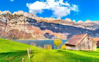 Бесплатные фото строение,сарай,озеро,горы,скалы,трава,деревья