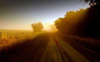 Заставки утро, восход, солнце, дорога, забор, туман, деревья, разное