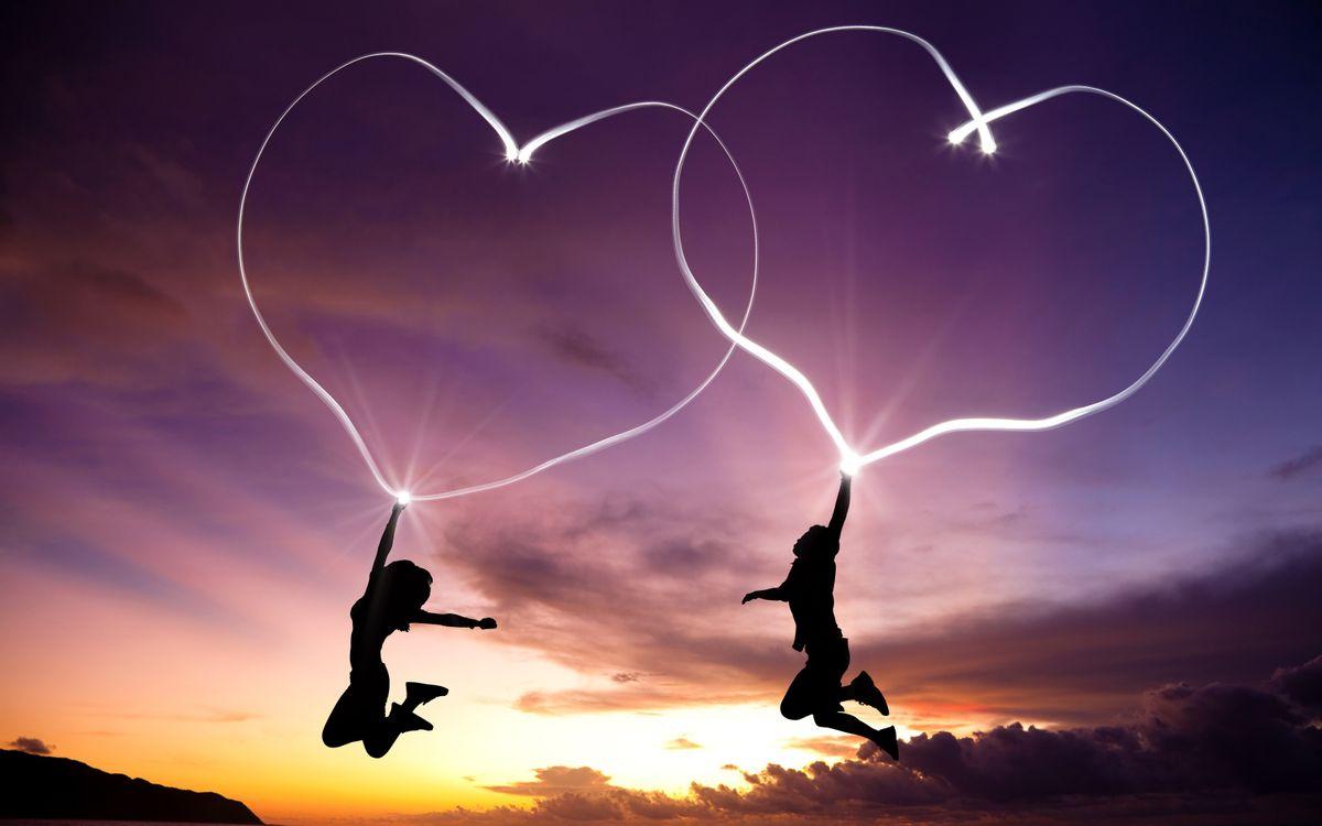 Фото бесплатно сердечки, любовь, девушка, мужчина, линии, закат, ситуации, ситуации