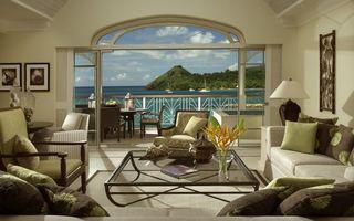 Заставки гостиная, вила, диваны, стол, вид, океан, интерьер