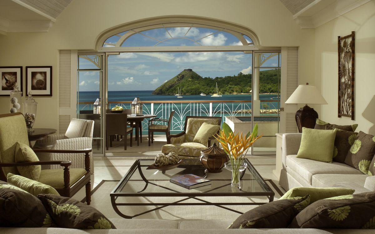 Фото бесплатно гостиная, вила, диваны, стол, вид, океан, интерьер, интерьер