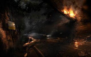 Бесплатные фото alone the dark: у последней черты,машины,знак,огонь,дерево,туннель,игры