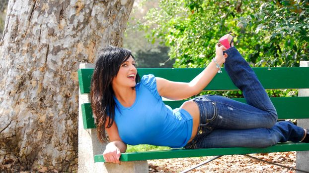 Photo free denise milani bench, girl, bench