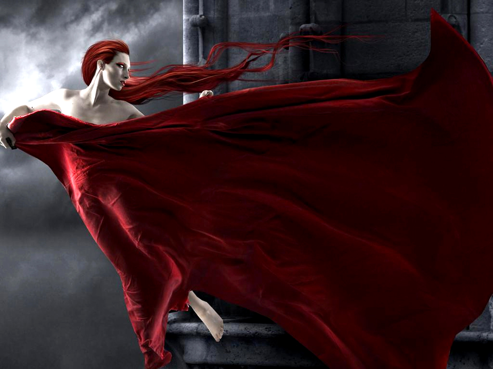 обои девушка, вамп, волосы, платье картинки фото
