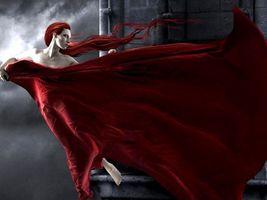 Бесплатные фото девушка,вамп,волосы,платье,красные,глаза,белые