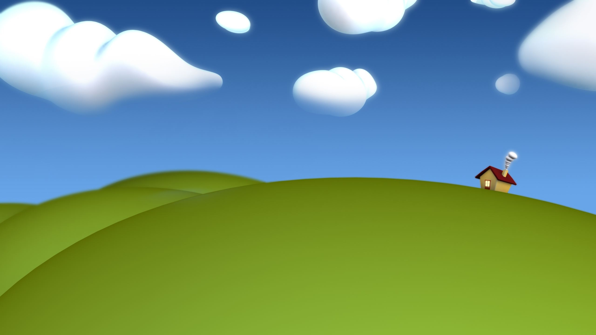 домик, зелень, небо